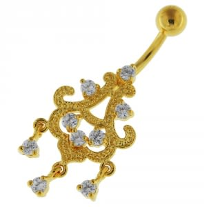 14G 10mm Yellow Gold Platted Silver Clear Jeweled Chandelier Sky Belly Ring