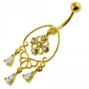 14G 10mm Yellow Gold Platted Silver Clear Jeweled Chandelier Banana Belly Ring