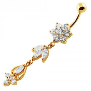 14G 10mm Yellow Gold Platted SterlingSilver Clear Jewel Flower Bunch Belly Ring
