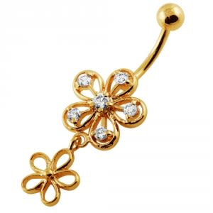 14G 10mm Yellow Gold Platted 925 Sterling Silver Clear Jewel Flower Navel Ring