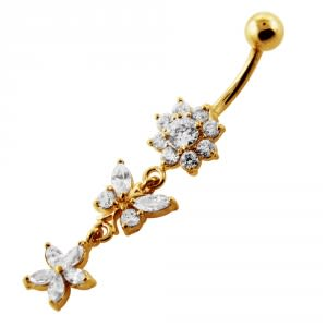 14G 10mm Yellow Gold Platted Silver Clear Jeweled Butterfly Flower Belly Ring