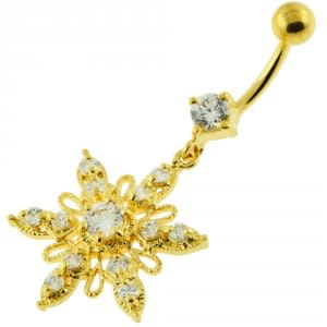 14G 10mm Yellow Gold Plated Sterling Silver Clear Jewel Snow Flake Belly Ring
