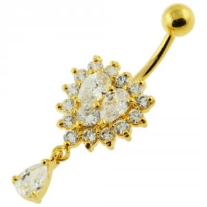 14G 10mm Yellow Gold Plated Sterling Silver Clear Jewel Heart Shape Belly Ring