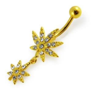 14G 10mm Yellow Gold Platted Silver Clear Jewel Fancy 2 MarijuanaLeaf Belly Ring