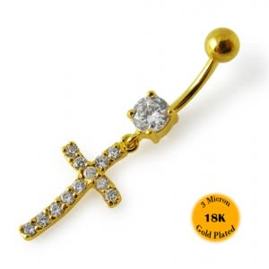 14G 10mm Yellow Gold Platted 925 Sterling Silver Clear Jeweled Cross Belly Ring
