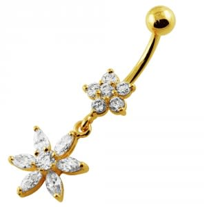 14G 10mm Yellow Gold Platted 925 Sterling Silver Clear Jewel 2 Flower Belly Ring