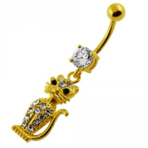 14G 10mm Yellow Gold Platted 925 Sterling Silver Clear Jeweled Cat Belly Ring