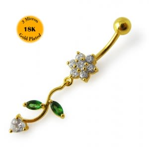 14G 10mm Yellow Gold Platted 925 Sterling Silver Clear Jeweled Flower Belly Ring