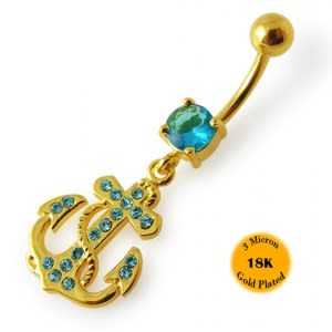 14G 10mm Yellow Gold Plated Sterling Silver Aqua Jeweled Anchor Cross Navel Bar