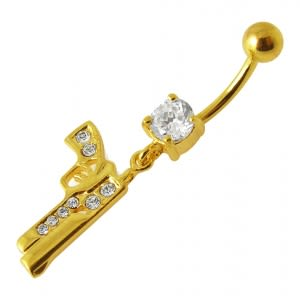 14G 10mm Yellow Gold Platted 925 Sterling Silver Clear Jeweled GUN Belly Ring
