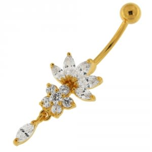 14G 10mm Yellow Gold Plated Silver Clear Jeweled Studded Flower Navel Belly Ring