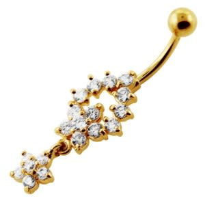 Clear Jeweled Flower 14G 10mm Yellow Gold Plated Sterling Silver Navel Belly Bar