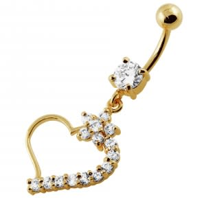 14G 10mm Yellow Gold Plated Sterling Silver Clear Jeweled Heart Navel Belly Ring