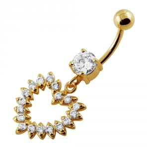 Yellow Gold Plated Silver Clear Jeweled Heart 14G 10mm Navel Belly Button Ring