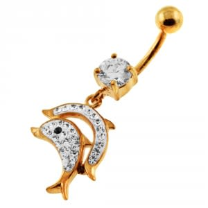 14G 10mm Yellow Gold Plated Silver Clear Jeweled Jumping Dolphin Navel Belly Bar