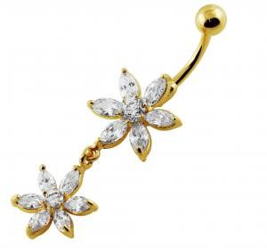 Sterling Silver Yellow Gold Plated 14G 10mm Clear Jeweled Flower Navel Ring