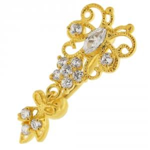 Clear Jeweled Butterfly Belly Ring 14G 10mm Yellow Gold Plated Sterling Silver