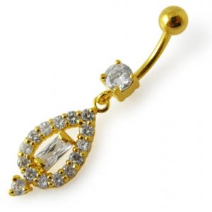 14G 10mm Yellow Gold Plated Sterling Silver Clear Jeweled Vintage Navel Ring