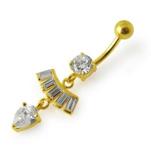 14G 10mm Yellow Gold Plated 925 Sterling Silver Clear Jeweled Belly Ring