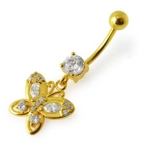 14G 10mm Yellow Gold Plated Sterling Silver Clear Jewelled Butterfly Navel Ring