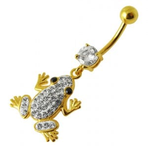 14G 10mm Yellow Gold Plated 925 Sterling Silver Clear Jewelled Frog Belly Ring