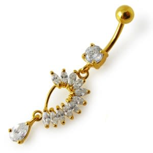 Yellow Gold Plated 925 Sterling Silver Clear Stone Curved Design Belly Navel Bar
