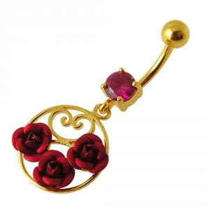 14G 10mm Yellow Gold Plated Sterling Silver Red Jeweled Multi Rose Belly Bar