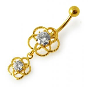 14G 10mm Yellow Gold Plated Sterling Silver Clear Jewel Fancy Classic Belly Bar