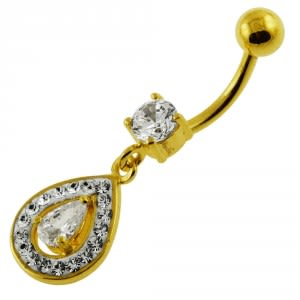 14G 10mm Yellow Gold Plated Sterling Silver Clear Jewel Pearl Shape Belly Bar