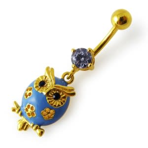 14G 10mm Yellow Gold Plated SterlingSilver Clear Jewel Dangling Owl Belly Bar