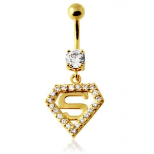 14G 10mm Yellow Gold Plated Sterling Silver Clear Jewel Superman Logo Belly Bar
