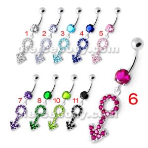 Gender Male symbol Silver Belly Ring