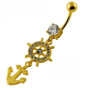 14G 10mm Yellow Gold Plated Silver Clear Jeweled Ship Helm Anchor Belly Bar