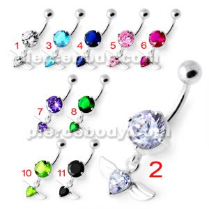 Jeweled Flying Heart Silver Belly Bar