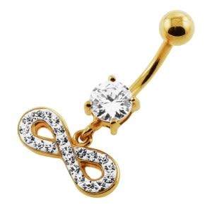 14G 10mm Yellow Gold Plated Sterling Silver Clear Jewel Infinity Sign Belly Bar