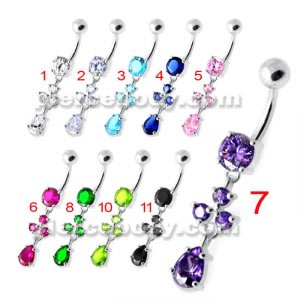 Tri Round Jeweled Dangling Silver Belly Bar