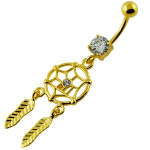 14G 10mm Yellow Gold Plated Sterling Silver Clear Jewel Dream Catcher Belly Bar