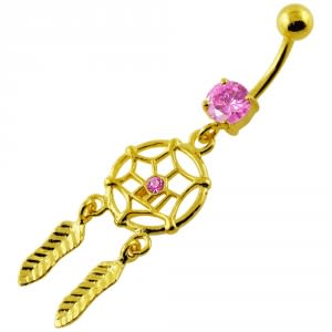 14G 10mm Yellow Gold Plated Sterling Silver Pink Jewel Dream Catcher Belly Bar