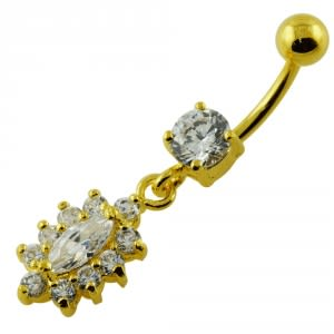 14G 10mm Yellow Gold Plated Sterling Silver Clear Jeweled Fancy Navel Belly Bar