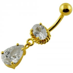 14G 10mm Yellow Gold Plated Sterling Silver Clear Jewel Fancy Danglin Belly Bar
