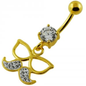 14G 10mm Yellow Gold Plated Silver Clear Jewel Mustache W/ Sun Glass Belly Bar