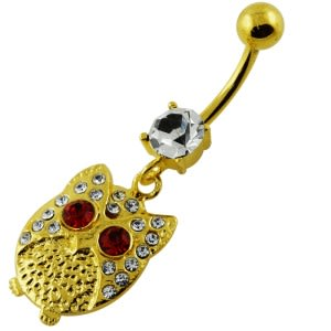 14G 10mm Yellow Gold Plated Sterling Silver Clear Multi Jeweled Owl Belly Bar