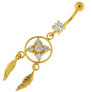 14G 10mm Yellow Gold Plated Silver Clear Jeweled Dream Catcher Flower Belly Bar