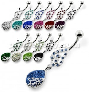 Multi jeweled Tear Navel Belly Piercing