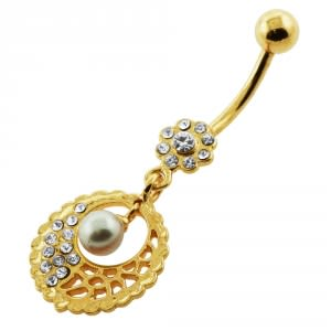 14G 10mm Yellow Gold Plated Sterling Silver Clear Jewel Hanging Pearl Belly Bar