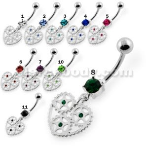 Heart With Jeweled Gear Navel Belly Piercing