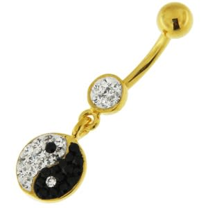 14G 10mm Yellow Gold Plated Sterling Silver Clear Jeweled Yin Yang Belly Bar