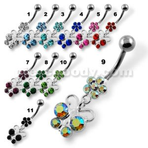 Hanging Jeweled Butterfly with Flower Belly Button Piercing