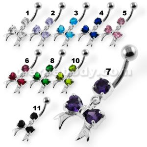 Twin Heart Bow Tie Navel Belly Button Piercing