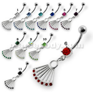 Dangling Jeweled Japanese Hand Fan Belly Button Ring